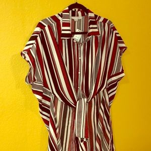 Favlux Front Tie Striped Shirt Tunic Shell NWT